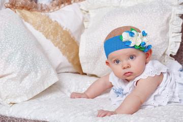 The newborn girl in the nursery.