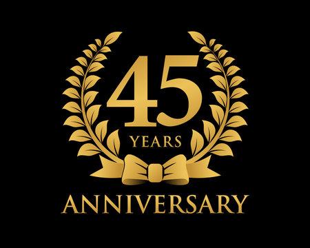 anniversary logo ribbon wreath black background 45