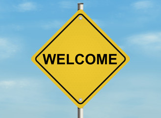 Welcome. Road sign on the sky background. Raster