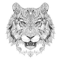 Tattoo, graphics head of a tiger