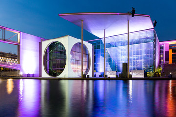 German Chancellery in the government quarter at night, Berlin