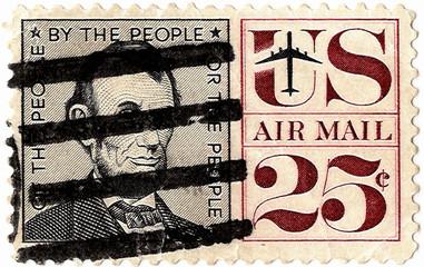 Old stamp with  portrait of Avraam Linkoln
