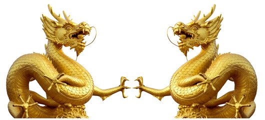 Double golden dragon statue at isolated on white background