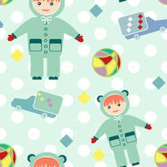 Seamless pattern with baby items retro