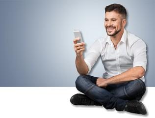 Phone, man, texting.