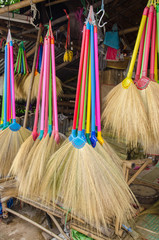 Multi colors dry grass broom, hand made from nature