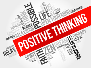 Positive thinking word cloud, business concept