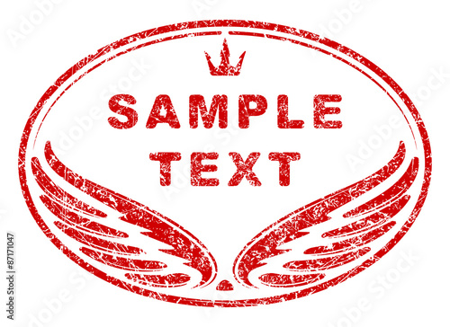 red oval grunge rubber stamp template with wings and crown an sp