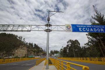 Road border between Ecuador and Colombia