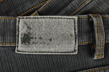 Blank old black jeans label