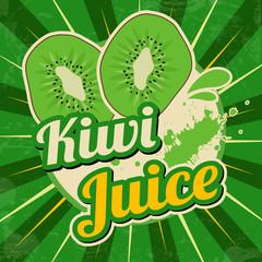 Kiwi juice retro poster