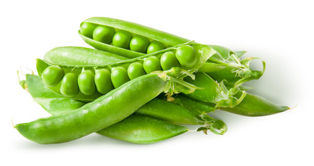 Pile green peas in pods