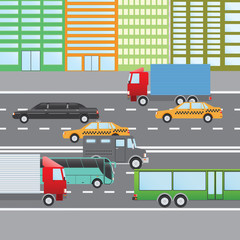 Flat design vector illustration of city traffic, Transportation Flat Icons. Trucks, Bus, taxi, limo, bank truck.