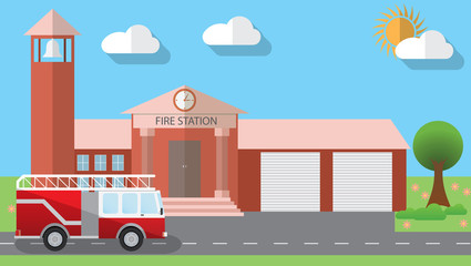 Flat design vector illustration of fire station building and parked fire truck in flat design style, vector illustration