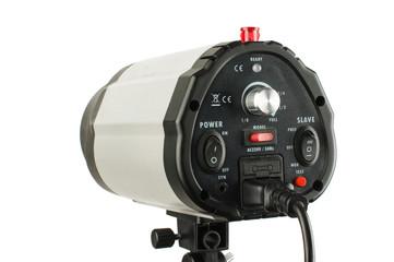 Flash studio lighting equipment with controls on the back