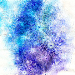 winter watercolor background with snowflakes