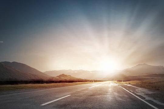 Sunrise over the road