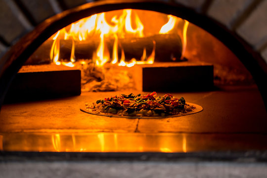Delicious pizza in the oven