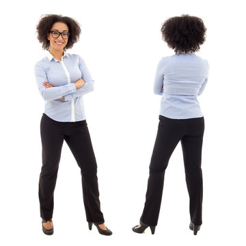 front and back view of young african american business woman iso