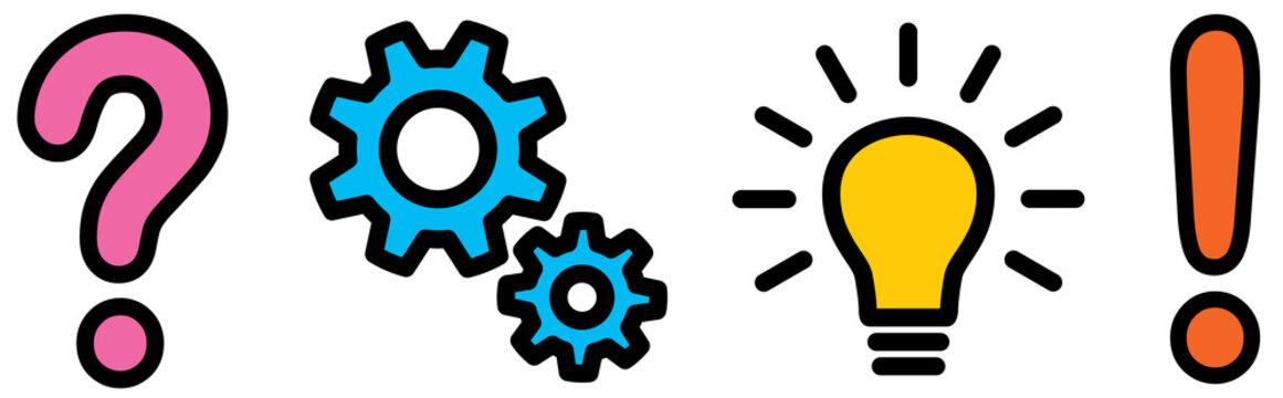Set: 4 Icons: Planungskonzept, farbig, Vektor, freigestellt