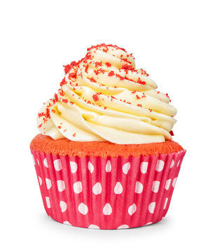 yellow cupcake isolated on white background