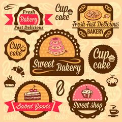 Fotobehang Vintage Poster bakery goods labels