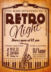 retro poster for billboard with saxophone and piano