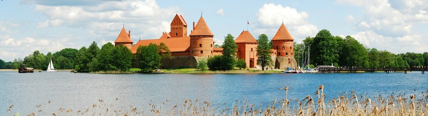 Galves lake,Trakai old red bricks castle view