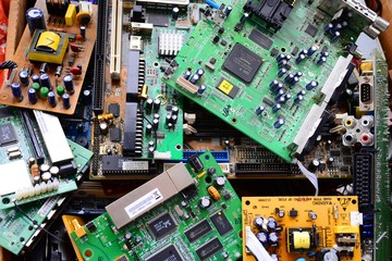 Old electronics mainboards in private collection