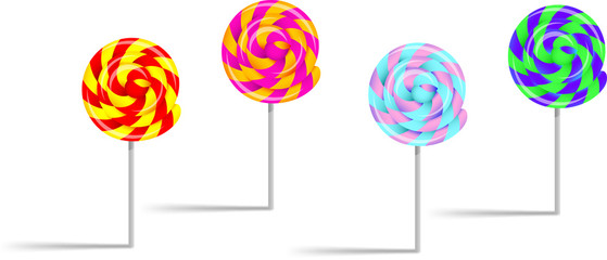 colorful lollipops white background,vector illustration