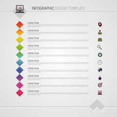 Flat colorful abstract timeline infographics vector illustration with squares