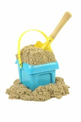 Plastic Bucket With Sand And Beach Toy Isolated