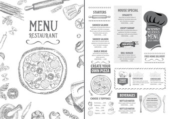 Restaurant cafe menu, template design. Food flyer.