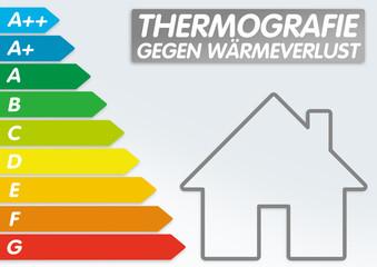 Schild mit Energieeffizienzklassen und Energie Sanierung, Effizienz, Beratung, Optimierung, Management, ENEV 2016, Thermografie