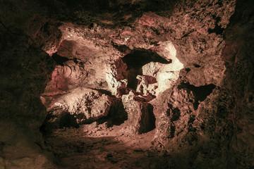 Cavern. An illuminated underground cave.