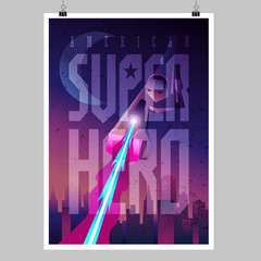 Superhero in action. Flying figure. Poster layout