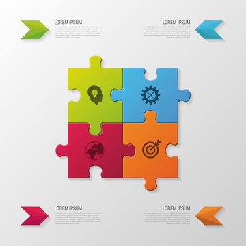 Puzzle piece. Modern infographics business concept. vector illustration