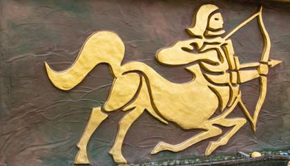 Sagittarius sign of horoscope on the wall