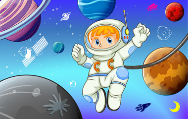 Astronaut with planets in space