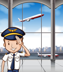 Airline captain at airport