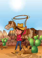 Cowgirl with lassoo in desert