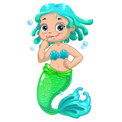 Cute cartoon mermaid blue hair