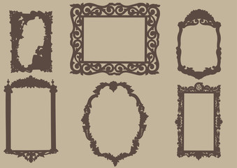 carved wooden ancient frame. Vector