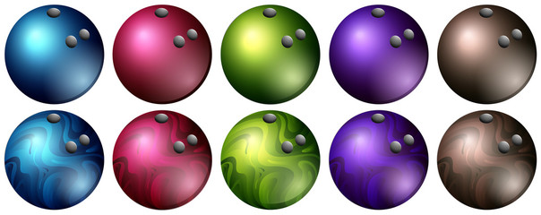 Bowling balls in different colors