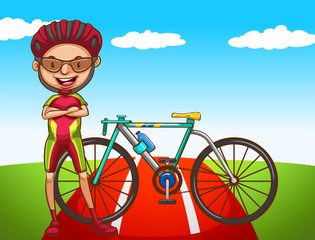 Cyclist and his bicycle