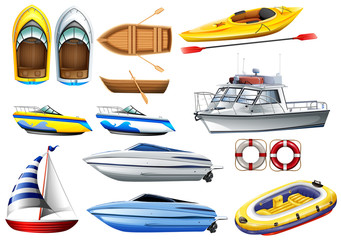 Boats and varying sizes