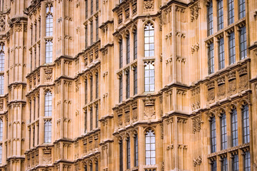 Houses of Parliament, London. Close, full-frame detail of the walls of the UK seat of government, The Houses of Parliament, a classic example of gothic architecture.