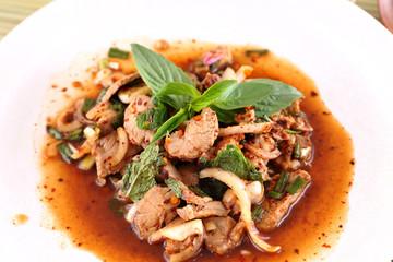 Thai spicy meat salad