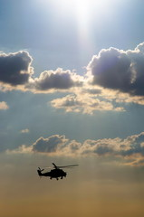helicopter in the sunny sky