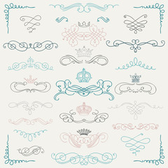 Vector Colorful Vintage Hand Drawn Swirls and Crowns